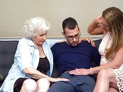 Hairy granny and mom sharing son's cock