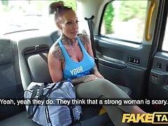 Tattooed MILF with big tits rides taxi driver