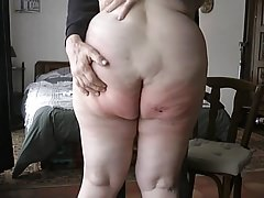My wife reluctantly shows her bare bottom for the public