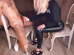 She gently tortures his dick – mistress gives handjob